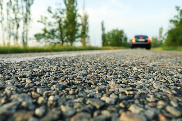Black car on asphalt road. travel. summer vacation