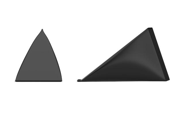 Черный картонный треугольник коробка крем, сок или пакет молока макет на белом фоне. 3d рендеринг