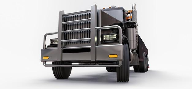 他の大きなトラックまたはさまざまな重機を輸送するための黒い貨物レッカー車。 3dレンダリング。