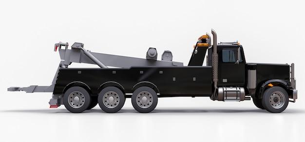 他の大型トラックやさまざまな重機を輸送するための黒い貨物レッカー車。 3dレンダリング。