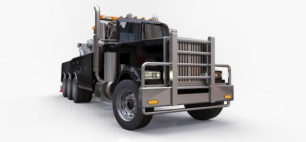 다른 대형 트럭이나 다양한 중장비를 운송하는 검은색 화물 견인 트럭. 3d 렌더링.