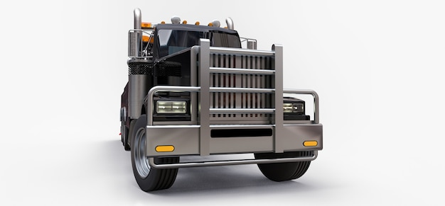 Black cargo tow truck to transport other big trucks or various heavy machinery