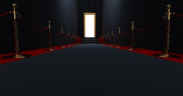 Black carpet on the stairs on a dark background with lighting door in the end, the path to glory