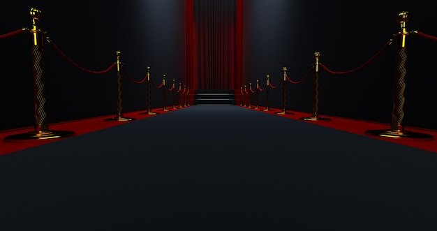 Black carpet on the stairs on a dark background with red curtain in the end, the path to glory,