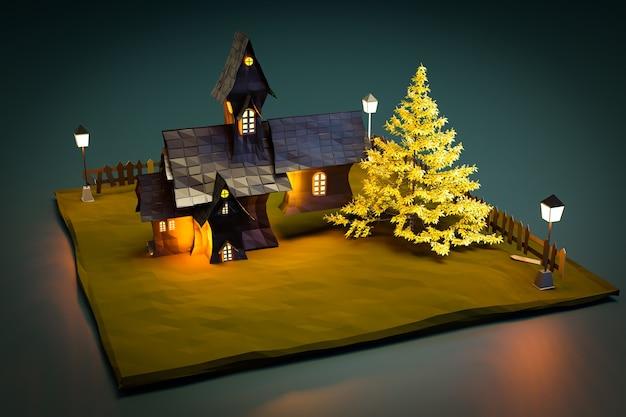 夜景の黒い城、3dイラストレンダリング