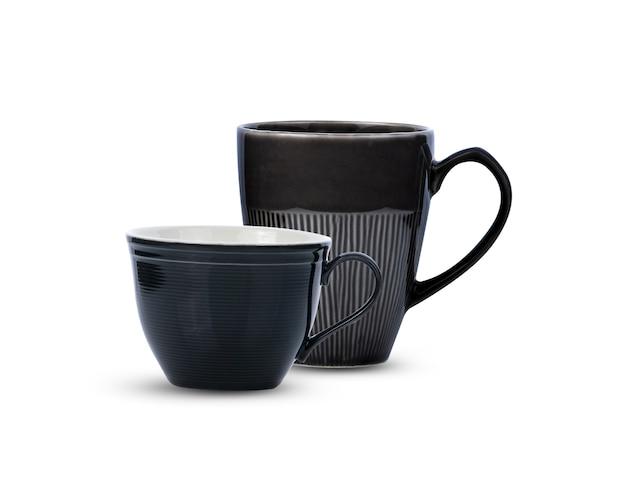 블랙 세라믹 컵 흰색 배경에 고립입니다.