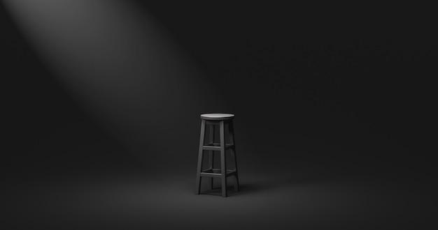 単独または暗闇の概念を持つ空の暗い部屋の背景に黒い椅子とスポットライトの控えめなトーン。 3dレンダリング。