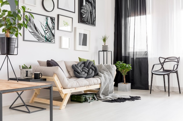 Black chair next to a sofa with blanket in contrast living room interior with plants and posters