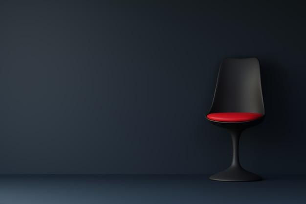 暗いリビングルームで赤いクッション付きの黒い椅子。 3dレンダリング。