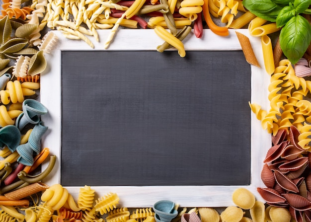 Black chalkboard with italian pasta