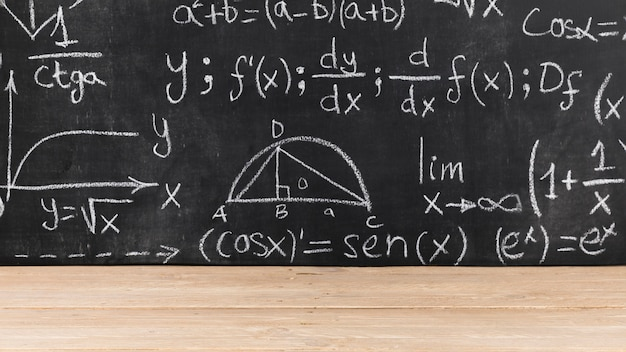Black chalkboard with mathematical problems