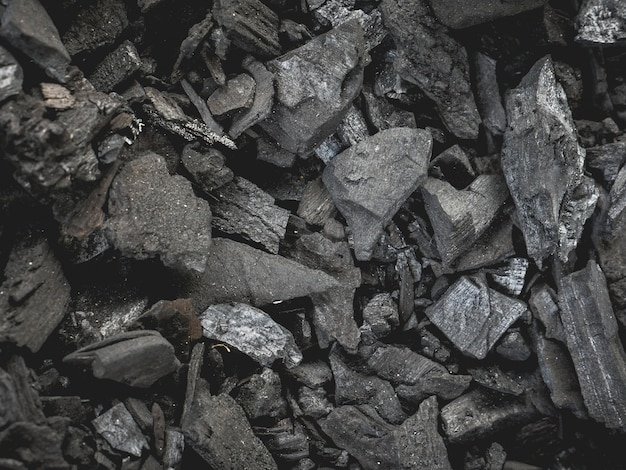 Black charcoal close-up
