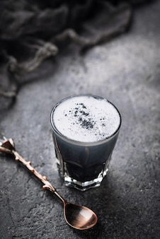 Black charcoal latte.  detox drink.