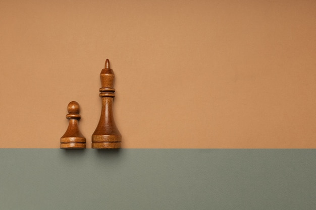 Black chess pawn and king on flat background