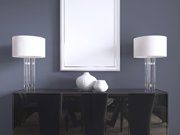 Черный комод с настольными лампами и картиной в белой раме. 3d-рендеринг.