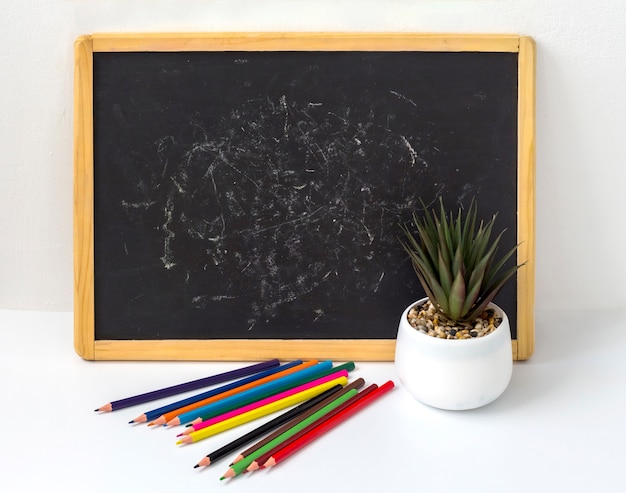 Black children's board with pencils and a flower on a white background with a copy of the space.