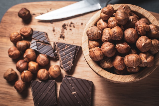 Black chocolate with hazelnuts