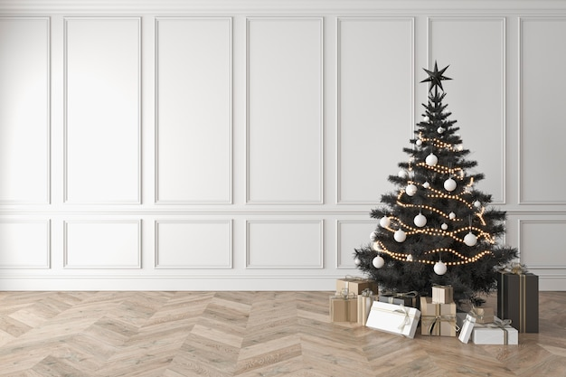 클래식 룸의 검은 크리스마스 트리 빈 흰색 벽 선물 d 렌더링 그림 모형