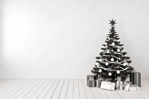 방에 검은 크리스마스 트리, 빈 흰색 벽, 선물. 3d 렌더링 그림 모형입니다.