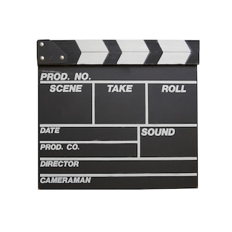 Black clapper board isolated on white