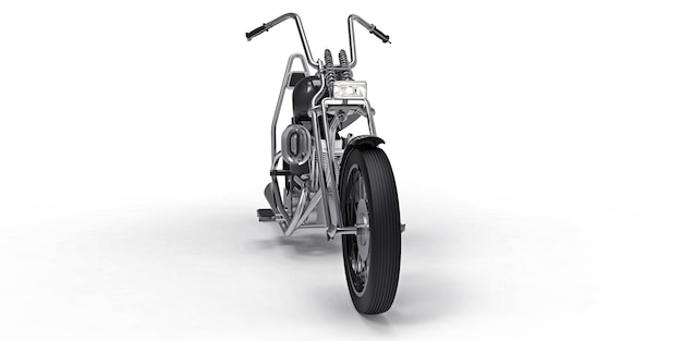 白い表面に分離された黒の古典的なカスタムバイク