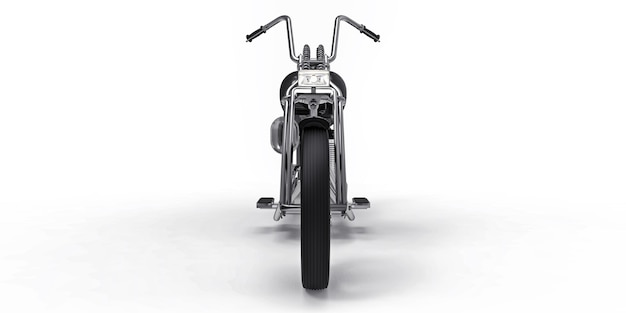 Black classic custom motorbike isolated on white background. 3d rendring.