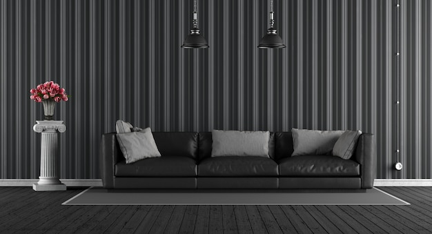 革のソファ付きの黒のクラシックなリビングルーム