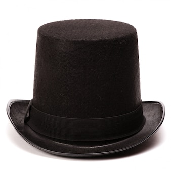 Black classic top hat, isolated on white  with natural shadow and reflection