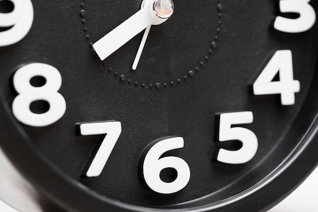 Black clock face with white numbers