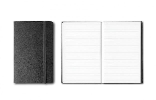 分離された黒の閉じた状態と開いたノートブック
