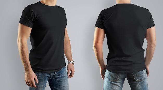 黒い服のtシャツ。若い男、正面図と背面図。設計。