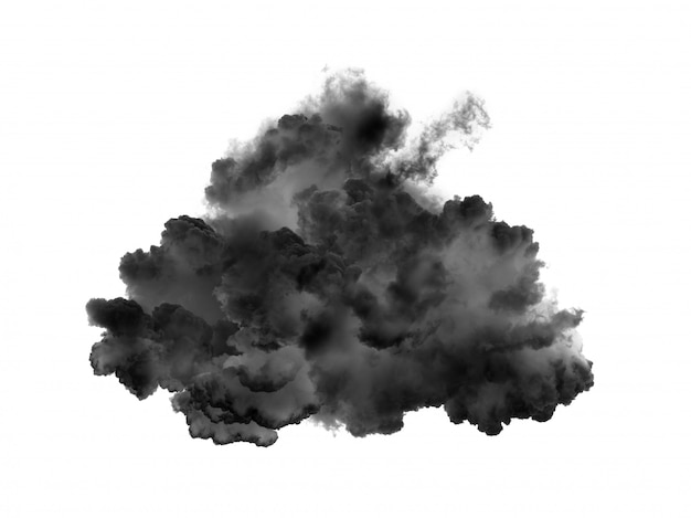 Черное облако дым на белом