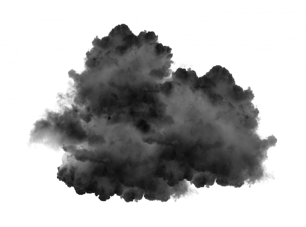 Black clouds or smoke isolated on white