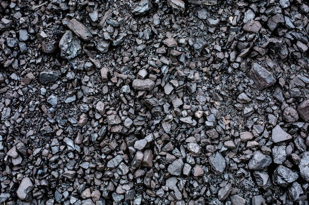 Black coal textured background close-up