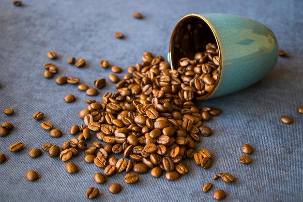 Black coffee beans for cappuccino and americano, studio shoot