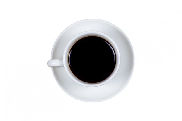 Black coffee in a coffee cup top view isolated on white