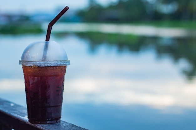 The black coffee cool blur background river