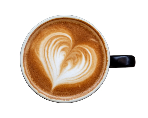 Black coffee cup of art latte with froth heart shaped isolated on white background. top view.