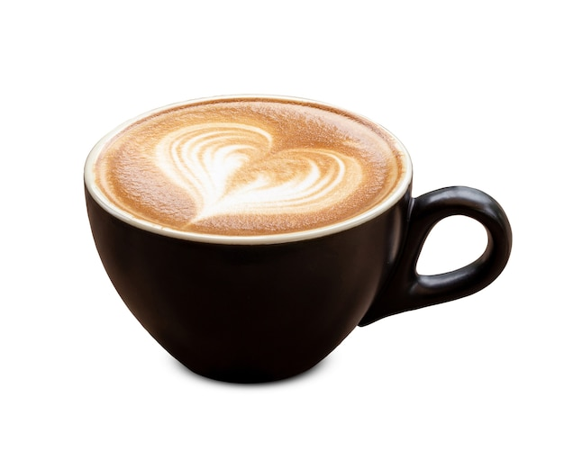 Black coffee cup of art latte with froth heart shaped isolated on white background