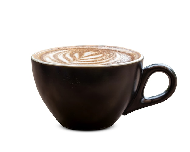 Black coffee cup of art latte with froth tulip shaped isolated on white background.