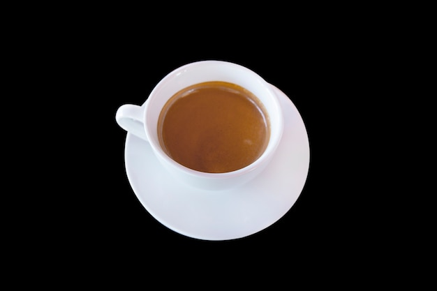 Black coffee or hot coffee on white cup with black background.