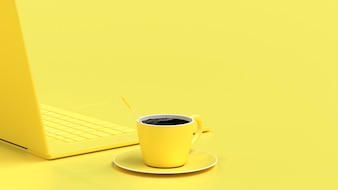 Black Coffee in yellow cup on work desk