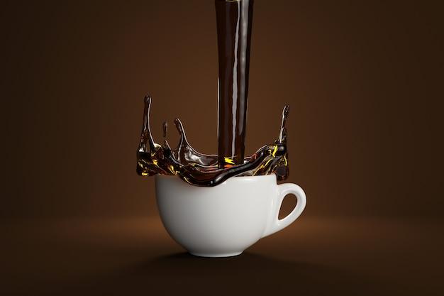 茶色の背景色のコーヒーの白いカップに注ぐブラックコーヒー。 3dレンダリング