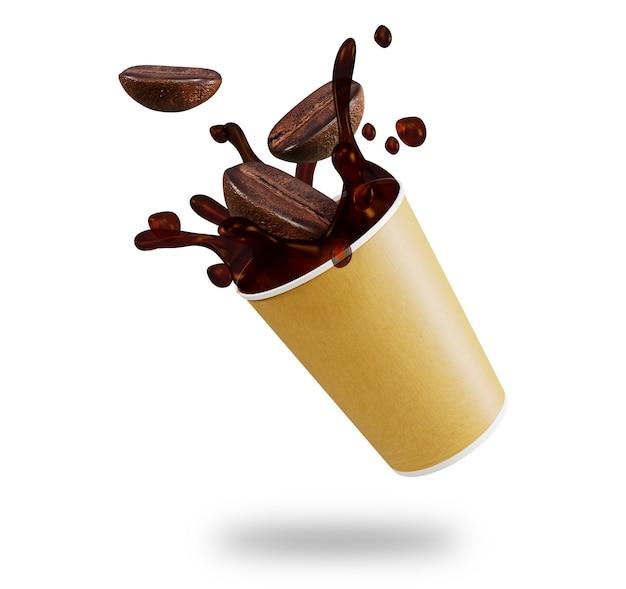 カップからブラックコーヒーのスプラッシュ。 3dレンダリング
