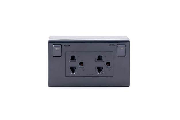 Black color wall outlet ac power plug socket with on-off switch isolated on white background.