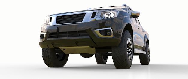 더블 캡이 있는 검은색 상업용 차량 배달 트럭. 로고와 라벨을 수용할 수 있는 깨끗한 빈 몸체로 휘장이 없는 기계. 3d 렌더링.