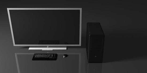 Black computer on a black background, 3d illustration