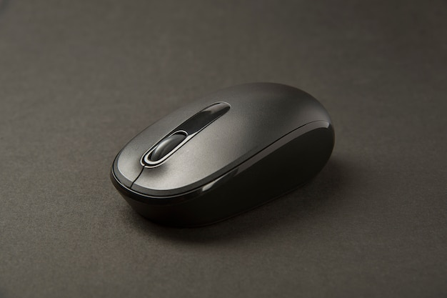 Black computer mouse . close up