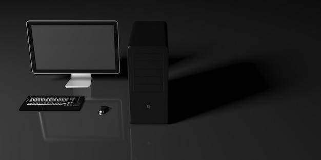 黒の背景に黒のコンピューター、3dイラスト