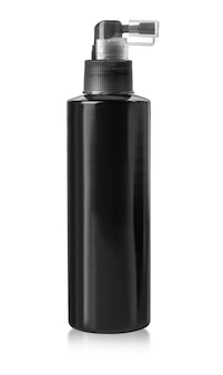 Black cosmetic bottle isolated on white surface